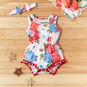 Baby Girl Floral Print Pretty Sleeveless Jumpsuit