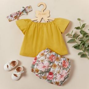 3pcs Baby Girl Short-sleeve Cotton elegant Floral Baby's Sets