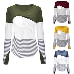 Casual Colorblock Long-sleeve Nursing Tee