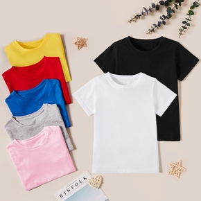 Pretty Kid Girl All-cotton Solid Short-sleeve Tees