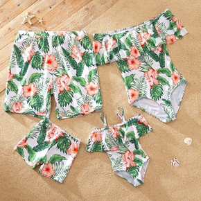 Leaf and Floral Print Off Shoulder Family Matching Swimsuits