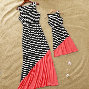 Stripe Print Tank Dresses for Mom and Me