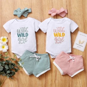 3pcs Baby Unisex casual Letter Short-sleeve Cotton Solid Shorts Baby's Sets