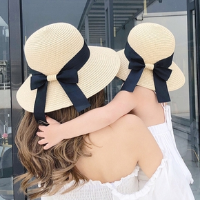 Straw Bowknot Beach Hats for Mommy and Me