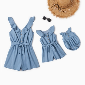 Denim Blue Lotus Leaf Collar With Buttons Rompers for Mom and Me