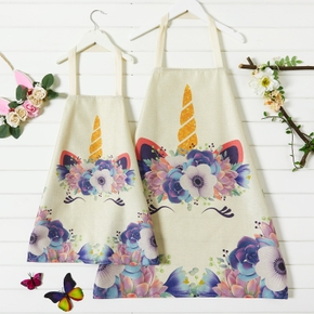 Unicorn Floral Print Aprons for Mommy and Me