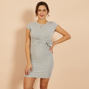Trendy Solid Knotted Short-sleeve Dress