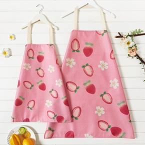 Strawberry Print Pink Kitchen Aprons for Mommy and Me