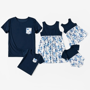 Blue Series Family Matching Tops(Floral Tank Tops for Mom and Me)