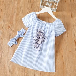 Smurfs Toddler Girl 2-piece 100% Cotton Stripe Dress and Bowknot Headband