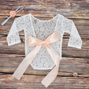 2Pcs New Born Baby Photography Lace Photographic Dress Bowknot Lace Dress Hair Tie Set Accessory