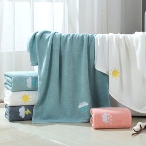 Absorbent Towel Soft Beach Shower Towel Cute Weather Pattern Soft Adult Bathroom Quick Drying Bath Towel
