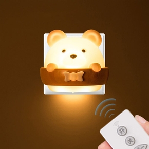 Creative Bear LED Night Light Rechargeable Plug-in Remote Control Bedroom Bedside Eye Protection Wall Lamp Birthday Gift