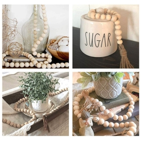 Wooden Beads Garland Farmhouse Beads And Tassels Creative Twine Beaded Farmhouse Autumn Home Decoration