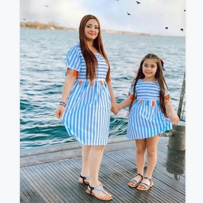 Mommy and Me Striped Tassel Short Sleeve Dresses