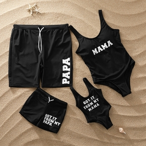 Family Look Letter Positioning print Black One-piece Matching Swimwear