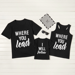 Letter Print Black Cotton Family Matching Tops(Tank Tops for Mom)