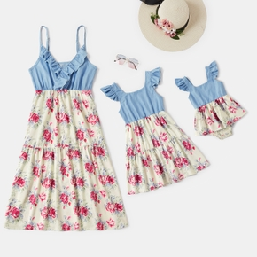 Floral Print Splice Denim Sling Dresses for Mommy and Me