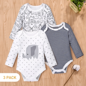 100% Cotton 3pcs Animal or Stripe Print Long-sleeve Baby Rompers