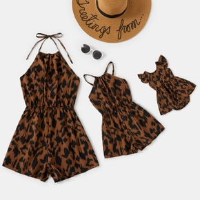 Leopard Print Sleeveless Halter Straps Shorts Rompers for Mommy and Me( Include Ruffle Cuff Baby Rompers)
