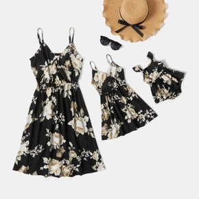Floral Print Black Sling Dresses for Mommy and Me