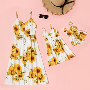 Sunflower Print Sling Dresses with Buttons for Mommy and Me