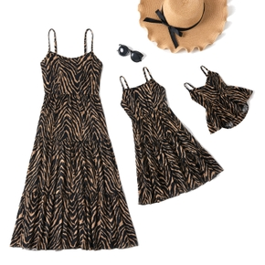 Leopard Print Cotton Sling Dresses for Mommy and Me