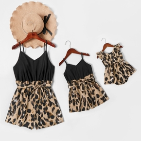 Leopard Splice Black Sling Short Rompers for Mommy and Me
