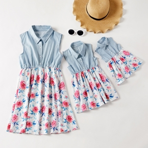 Floral Splice Denim Print sleeveless Dresses with Buttons for Mommy and Me