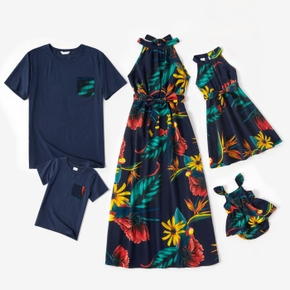 Floral Print Family Matching Sets(Halter Dresses for Mom and Girl; Short Sleeve T-shirts for Dad and Boy)