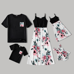 Floral Print Family Matching Sets(Sling Dresses for Mom and Girl ; Short Sleeve T-shirts for Dad and Boy)