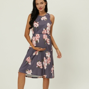 Maternity casual Floral Print Round collar A Sleeveless Dress