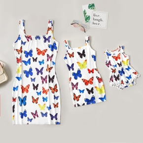 Butterfly Print Tank Square Collar Tight Dresses for Mommy and Me
