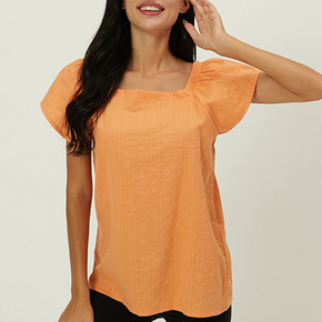 Casual Print Square neck Short Sleeve T-shirt
