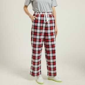 casual Plaid Print Cocoon long sleeve Loungewear