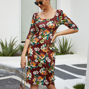 Elegant Floral Print Square neck S Midi Dress