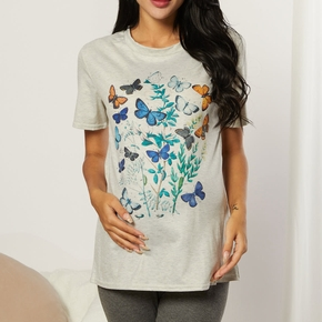 Maternity casual Floral Print Round collar Short Sleeve T-shirt
