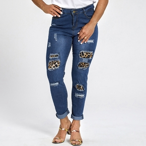 Sexy Color Block Leopard Print Close-fitting tights jeans