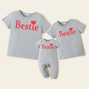 Mosaic Summer New Bestie Cotton Tee and Romper for Mommy and Me