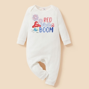 Smurfs Baby Boy/Girl Firework and Letter Print 4th of July Cotton One Piece