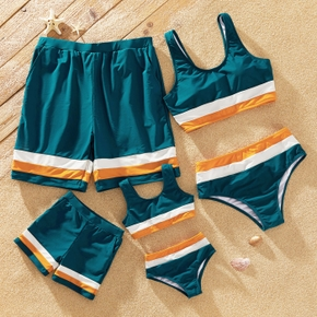 Color Block Splice Print Family Matching Swimsuits(2-piece Tank Swimsuits for Mom and Girl ; Swim Trunks for Dad and Boy