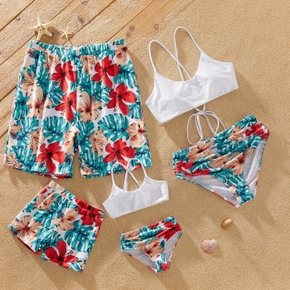 Floral Print Family Matching Swimsuits(Sling Back Cross 2-piece Swimsuits for Mom and Girl ; Swim Trunks for Dad and Boy)