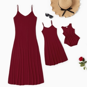 Solid Red Sling Dresses for Mommy and Me