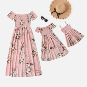 Floral Print Pink Matching Maxi Romper Dresses for Mommy and Me