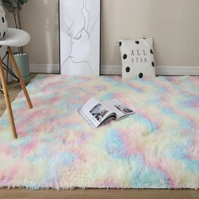 Rainbow Colors Long Hair Tie Dyeing Carpet Bay Window Bedside Mat Soft Area Rugs Shaggy Blanket Gradient Color Living Room Rug