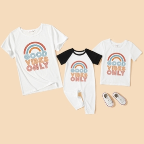 Mommy and Me Rainbow Letter Printed White Short Sleeve T-shirts (Raglan Sleeves T-shirt Rompers for Baby)