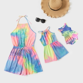 Tie-dye Series Rompers for Mommy and Me(Halter Straps for Mom and Girl; Tassel Design for Baby Rompers)