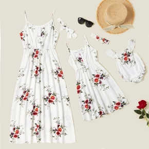 Floral Print White Sling Dresses for Mommy and Me
