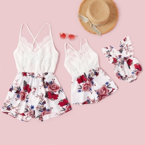 Floral Print Lace Cross Back Short Rompers for Mommy and Me