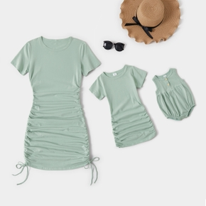 Light Green Solid Drawstring Design Cotton Short Sleeve Mini Dresses for Mommy and Me